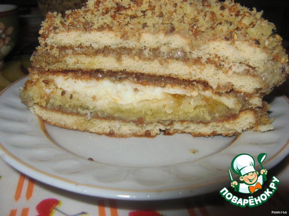 Торт с халвой и кунжутом