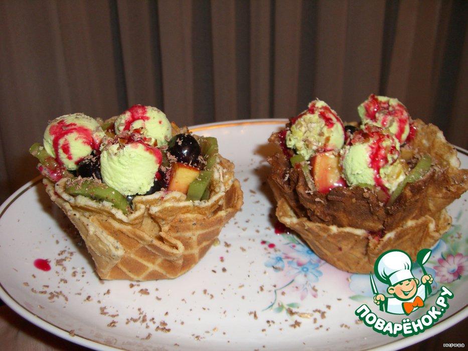 Десертные тарталетки с фруктами и фисташковым мороженым