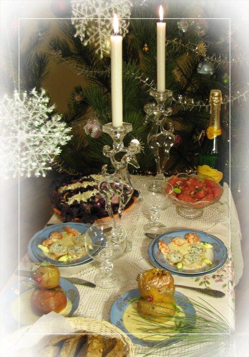 Запеченные яблоки с ванильным соусом Снеговичок