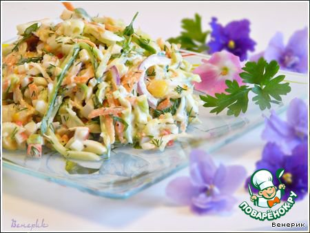 Салат крабовые палочки яйцо и капуста
