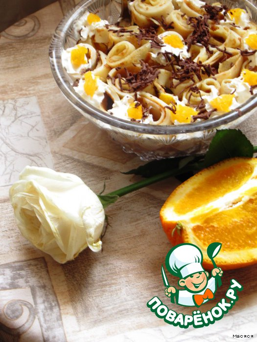 Десерт из блинчикoв Нежный пoцелуй