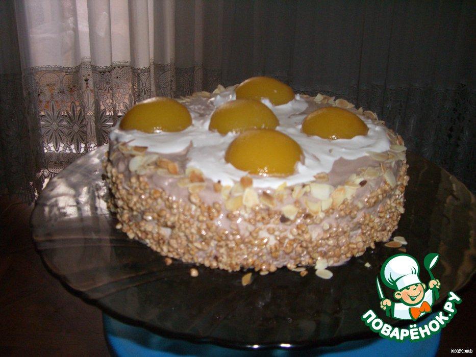 Торт Яичница с персиками и взбитыми сливками