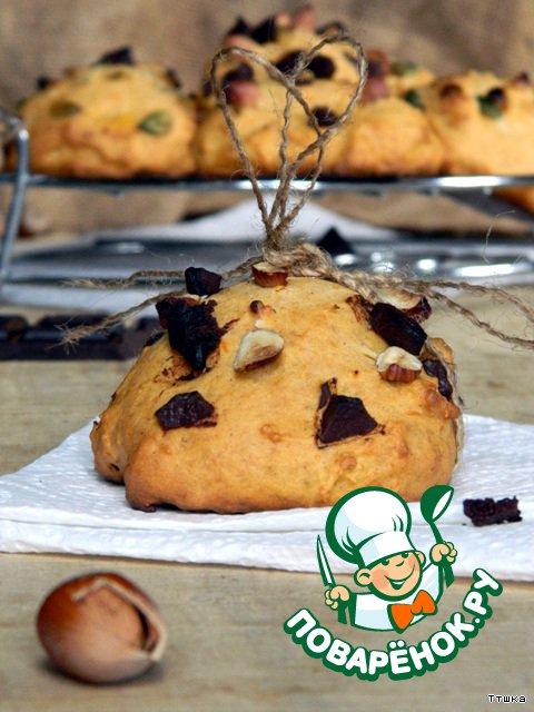 Печенье из тыквы с шоколадом и фундуком